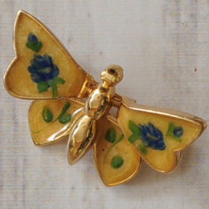 vtg yellow floral spring wing butterfly brooch pin